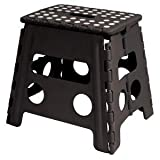 Easy Life Carry Folding Step Stool / Seat With Anti-Slip Surface 13 Inch For Kids Works Home - Black