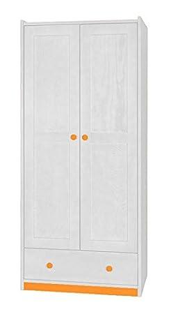 schmaler Kleiderschrank Weiß 180x80x55 cm