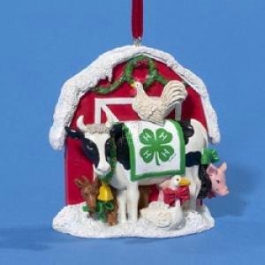 Resin 4-H Club Christmas Barn Ornament