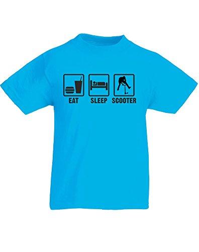 Eat Sleep Scooter, Kids Printed T-Shirt - Azure/Black 12-13 Years front-767298