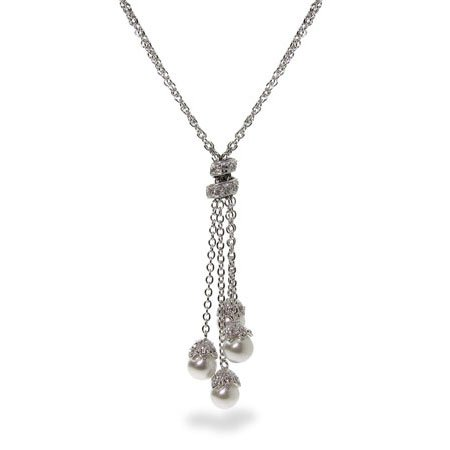 Sterling Silver Four White Pearl Dangle Necklace
