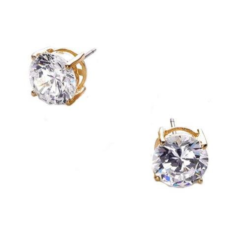 Isai's 925 Sterling Gold Plated Stud Earrings 4Ct. Round Cut Cubic Zirconia Basket Setting - Incl. ClassicDiamondHouse Free Gift Box & Cleaning Cloth