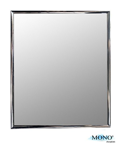 "MONOINSIDE Framed Wall Mounted Mirror, Modern Silver Finish, 12"" x 10"" Inches"