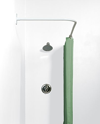 Zenna Home 33941ww Neverrust Aluminum L Shaped Corner Shower Curtain Rod White Garden