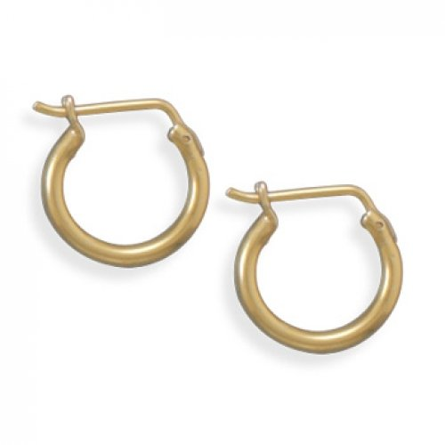 MMA Silver - 14 Karat Gold Plated 1.5mm x 13mm Hoops