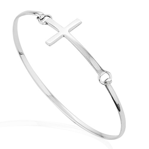 925-Sterling-Silver-Rose-or-Gold-Plated-Thin-Line-Cross-Wrap-Bangle-Bracelet