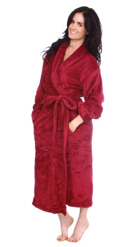Soft Unisex Plush Spa Hotel Kimono Robe / Bathrobe w/ Tie Closure Pockets Red