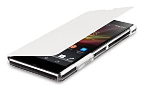 Sony Executive Flip Book Case Cover with Credit Card Slot for Xperia Z1 by Made for Xperia - White