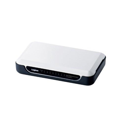 Logitec スイッチングハブ 8ポート プラスチックケース 電源外付 10/100Mbps  ホワイト LAN-SW08/PH