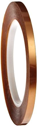 "Polyimide Double Sided Masking Tape, 3"" Core, 500 Degree F Performance Temperature, 30 lbs/inch Tensile Strength, 1 mil Thick, 36 yds Length x 1/4"" Width, Amber"