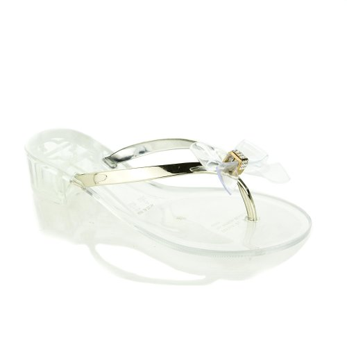 Ursala01 Clear Jelly Rhinestone Studded Bow Thong Low Block Heel Dress Sandal-8 front-648936