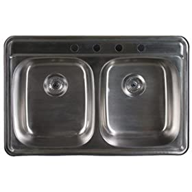 Sonetto S163-1 33x22 double bowl 18 gauge 1 hole tapping, 9 deep inches deep sink, Stainless Steel