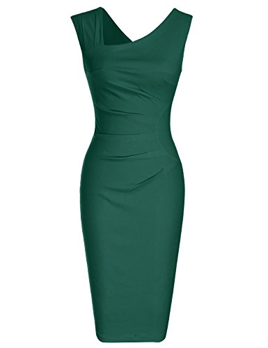 MUXXN Women's Vintage Style Strap Knee Length Cocktail Dress ( XXL Dark Green)
