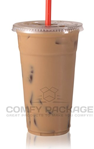 COMFY PACKAGE 50 Sets 24 oz. Plastic CRYSTAL CLEAR Cups with Flat Lids for Cold Drinks, Iced Coffee, Bubble Boba, Tea, Smoothie etc. (Plastic Lid Large compare prices)