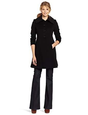 Nicole Miller Women's Fit and Flare Coat, Black, 12