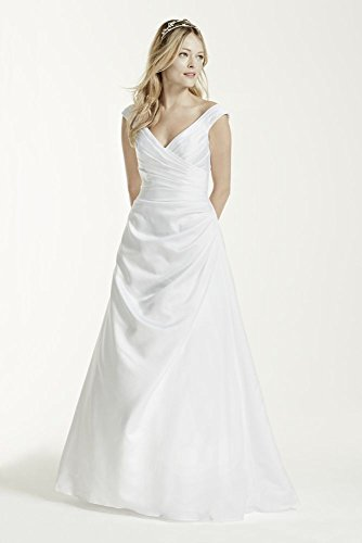 Satin Off-the-shoulder Wedding Dress with Side Draping Style T9861, White, 0