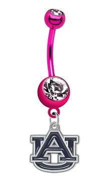 Auburn Tigers PREMIUM Pink Titanium Anodized Sexy Belly Button Navel Ring at Amazon.com