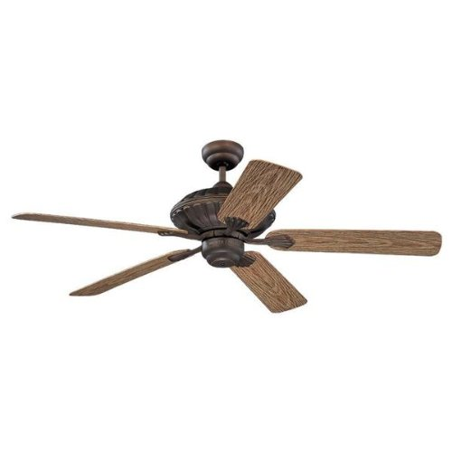 Monte Carlo 5CZ52RB Cozumel 52-Inch 5-Blade Outdoor Ceiling Fan with Motor, Walnut ABS, Grain Blades, Roman Bronze