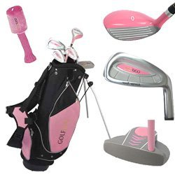 Golf Girl Junior Club Set For Kids Ages 8-12 Rh W/Pink Stand Bag front-167430