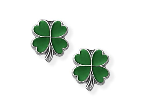 925 Sterling Silver Childrens Green 4 Leaf Clover Earrings LIFETIME WARRANTY