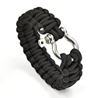 Cosmos  8&quot; Black Color with Stainless Steel Bow Shackle Survival Bracelet Strap with Cosmos Fastening Strap from Cosmos