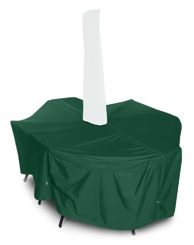 KoverRoos Weathermax 67251 Medium Rectangular Dining Set Cover with Umbrella Hole 94 by 64 by 28-Inch Forest Green at Sears.com