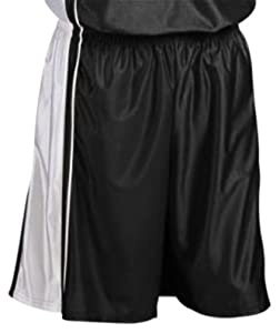 Teamwork Adult Youth Dazzle Basketball Shorts 45-BLACK WHITE A3XL-11 INSEAM by Teamwork