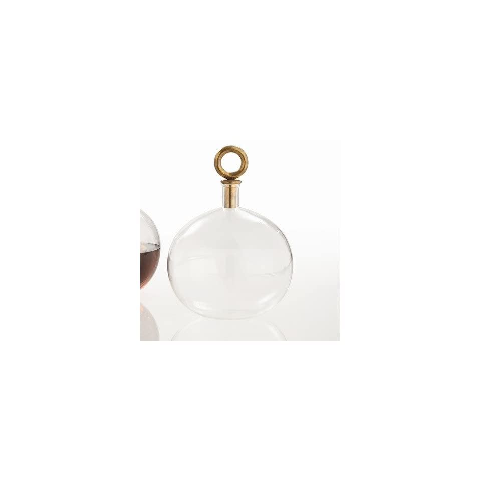 ARTERIORS Home 2622 Edgar Round Glass Bottle with Antique Brass Ring Stopper in Clear