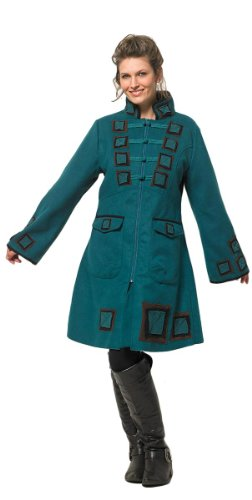 coline manteau bleu p trole esprit veste officier. Black Bedroom Furniture Sets. Home Design Ideas