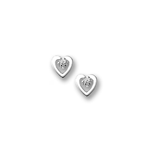 Sterling Silver Children's Polished Open Heart with Cubic Zirconia Earrings