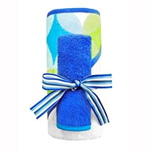 Baby Hooded Towel Set - Towel & Wash Cloth - Blue Bubbles Design