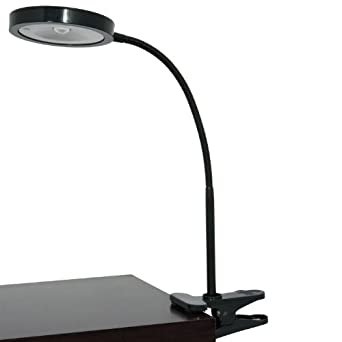 Home Design, 14 Inch Tall, Super Bright LED Clip-on Lamp (Black)