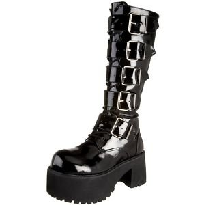 DEMONIA New Black Patent Rock Goth Vegan knee Platform Heel Buckle Zip Boots - Ladies UK 9 / Mens UK 8 / Mens