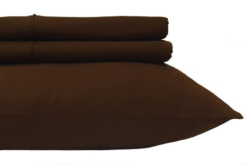 """Royal'S Solid Chocolate 600-Thread-Count 2Pc / Pair Standard / Queen Size 20"""" X 30"""" Pillowcases 100% Egyptian Cotton, Sateen, Pillow Cases front-343616"""