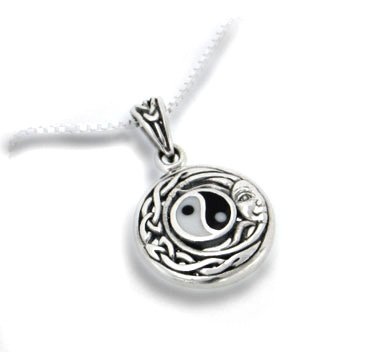 Celtic Knot and Yin Yang Symbol - Flowing Sun Pendant and 18