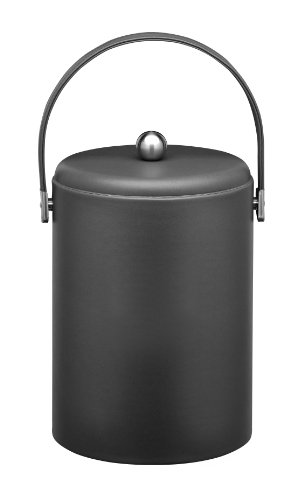 Kraftware Ice Bucket With Stitched Handle, Domed Lid And Chrome Astro Ball Knob, Black - 5 Quart