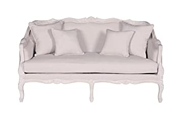 Crafted Home Tonasket Transitional Love Seat - 63 Length by 35 Width by 36 Height - White Cotton