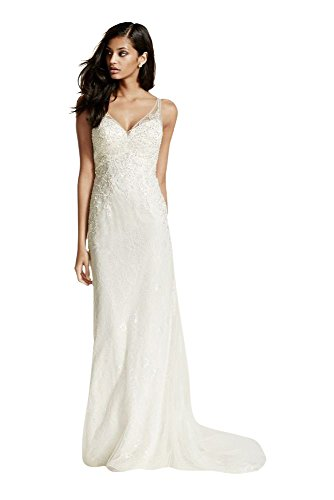 b61fd027741 Lace Sheath Wedding Dress with V Neckline Style SWG675