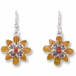 January - CZ Garnet Sterling Silver and Enamel Earrings