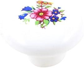 32mm Diameter Cabinet Door Drawer Floral Print Ceramic Knob Pull