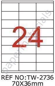 TANEX TW-2736 Étiquettes Universelles Pour Adresses blanc 70 x 36 mm -angulaire- 10 Feuilles A4