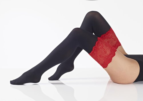 Opaque Black Hold Ups Finished with a Red Lace 80 denier