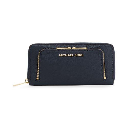Michael Kors Bedford Zip Around Wallet Clutch Midnight Blue Navy