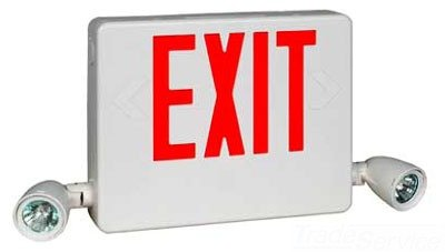 Dual-Lite Hcxurw-0-Rc12 Led Exit Sign & Emergency Light Combo, 23W Red Letters No Heads Remote - White