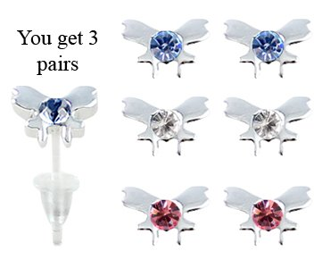Butterfly studs earrings - hypo allergic UPVC posts - white gold plated so looks like real - you get a set of 3 - easy to wear, suitable for everyday wear
