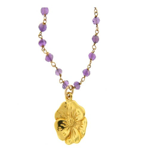 Amethyst Flower Charm Necklace