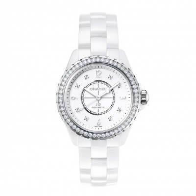 Channel J12 Ceramic 33mm Diamond Bezel Ladies Quartz Watch - H3110