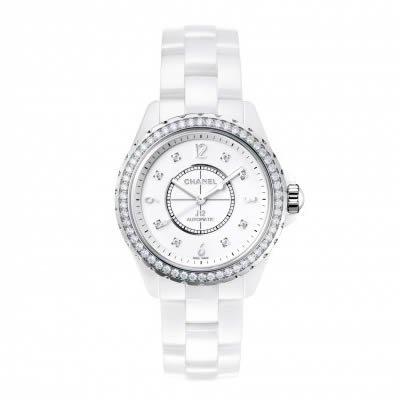 Channel J12 Ceramic 33mm Diamond Bezel Ladies Quartz Watch - H3110