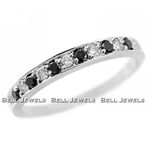 Click to buy Fancy-Black Diamond Wedding Band/Ring 14k White Gold from Amazon!