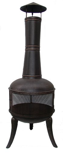 140CM BRONZE STEEL CHIMENEA CHIMINEA PATIO HEATER